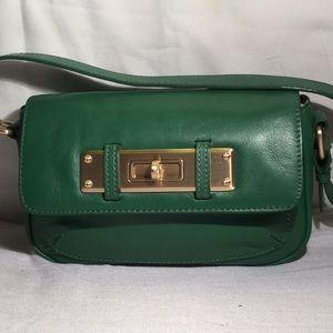 Adorable small green leather handbag for Talbots